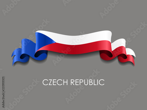 Obraz Czech flag wavy ribbon background. Vector illustration. - fototapety do salonu