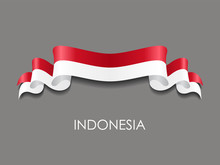 Indonesian Flag Wavy Ribbon Background. Vector Illustration.