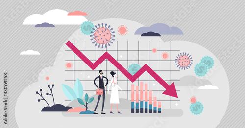 Fototapeta Economic crisis vector illustration. Financial recession tiny persons concept. obraz