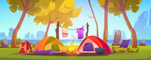 Summer Camp With Tent, Campfir...