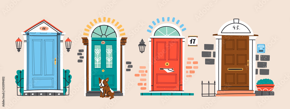Fototapeta Set of four retro vintage Front Doors. Brick wall. Lamp on a wall. Windows. Sitting bulldog. House Exterior. Home Entrance. Hand drawn colored vector illustration. Isolated on a beige background