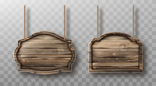 Wooden Boards Hang On Ropes Set. Realistic Signboards With Wood Texture, Banners Or Labels For Bar Or Saloon In Rustic Style. Blank Vintage Plank Panels For Menu Or Pub Entrance 3d Vector Illustration