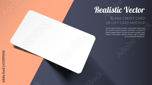 Brand Identity Concept. Blank Credit, Gift or Business Card Mockup. Layered Template for Design with Vector Shadow Effects. #330995692