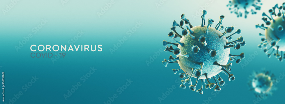Fototapeta High resolution banner Coronavirus microscopic view. Dangerous asian ncov corona virus, SARS concept with text on teal background. 3d rendering