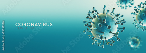 Obraz High resolution banner Coronavirus microscopic view. Dangerous asian ncov corona virus, SARS concept with text on teal background. 3d rendering - fototapety do salonu