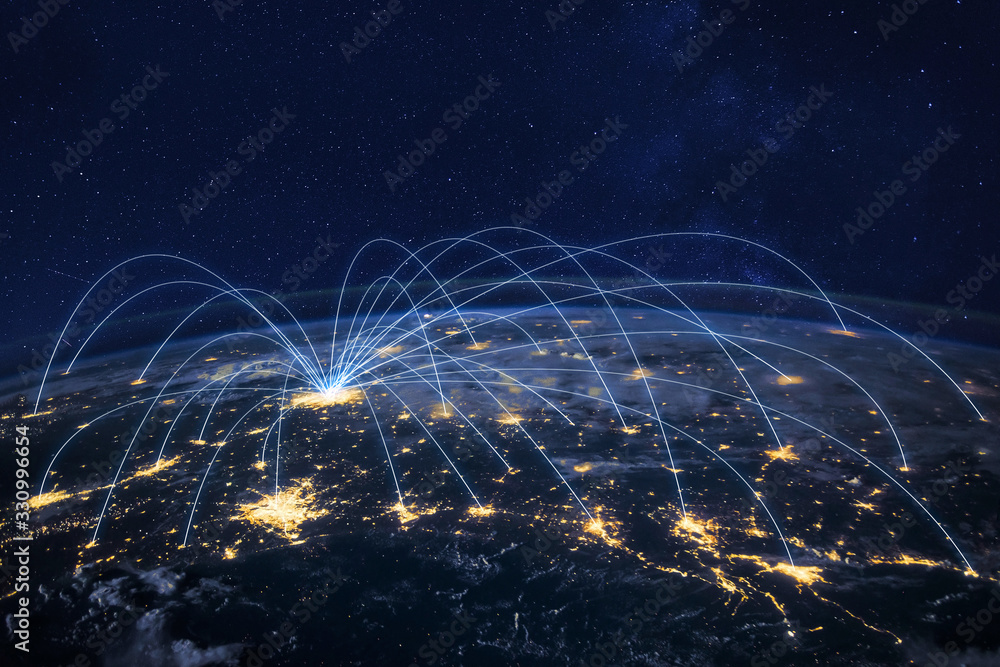 Fototapeta distribution and delivery concept, global business communication network, planet elements of the image furnished by NASA
