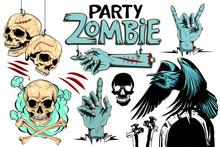 Vector Evil Human Skull. Vector Illustration, Set For Halloween. Zombie Party.