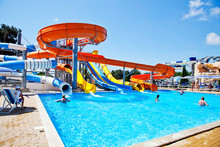 Gelendzhik, Russia-June 6, 2018: Zolotaya Bukhta Water Park In The Resort Of Gelendzhik, Black Sea. Water Slides, Rides And Entertainment