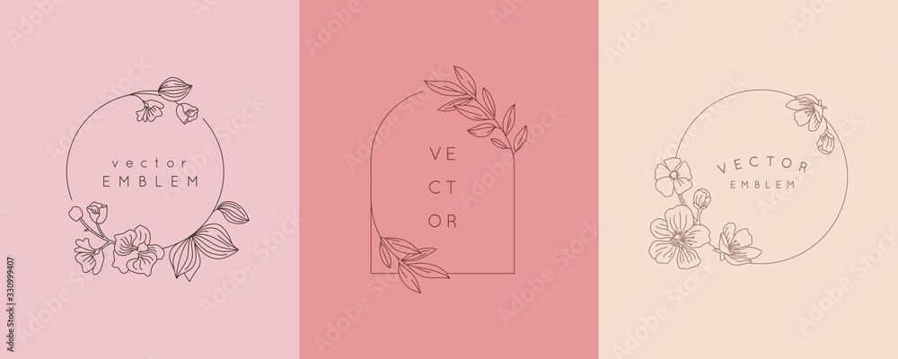 Fototapeta Vector logo design template and monogram concept in trendy linear style - floral frame with copy space for text or letter - emblem for fashion, beauty and jewellery industry