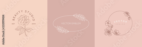 Obraz Vector logo design template and monogram concept in trendy linear style - floral frame with copy space for text or letter - emblem for fashion, beauty and jewellery industry - fototapety do salonu