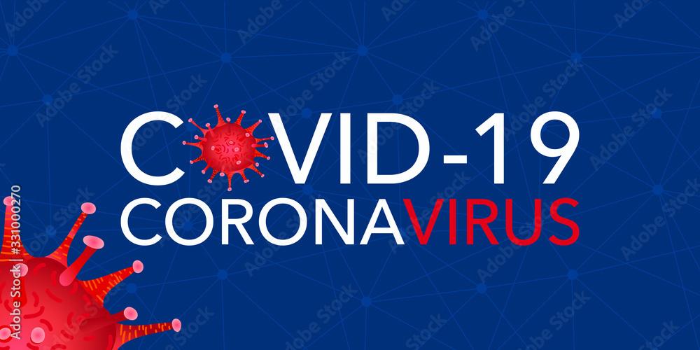 Fototapeta Covid 19, pandemic coronavirus, virus symbol, global warning. Covid-19 vector illustration background