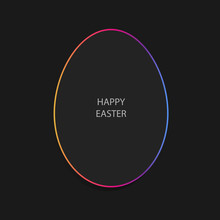 Easter Egg In Simple Minimal Style On Black Background With Copy Space
