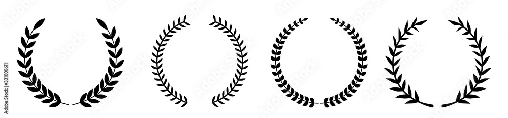 Fototapeta Set of various laurel wreaths. Award, achievement, victory, Gerd. Vector illustration on a white background.