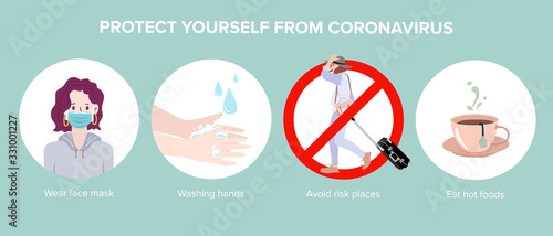 Photo Corona virus 2019 prevention infographic. Vector Illustration