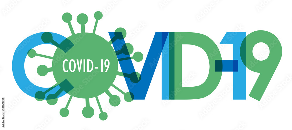 Fototapeta COVID-19 blue and green vector typography banner with virus symbol