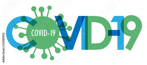 COVID-19 blue and green vector typography banner with virus symbol