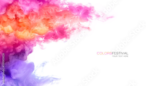 Obraz Abstract background banner with colorful ink in water. Festival of Colors. Color Explosion Paint Texture - fototapety do salonu