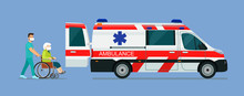 A Sick Elderly Woman In A Mask Is Placed In An Ambulance. Vector Flat Style Illustration.