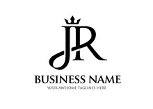 Elegant Initial Letter Jr With Crown Logo Vector, Creative Lettering Logo Vector Illustration.