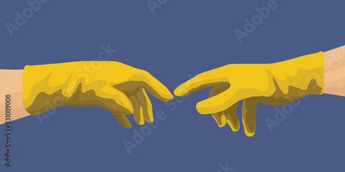 Obraz na plátně Concept de l'hygiène avec les mains de Michel Ange qui pointent leurs doigts en ayant enfilées des gants de latex pour se protéger de la propagation d'un virus