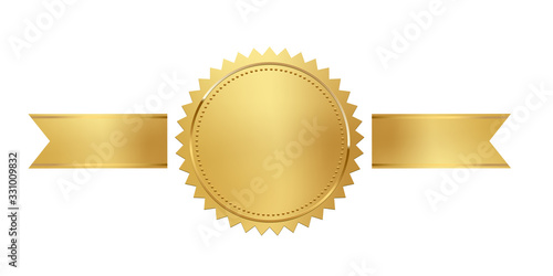 Fotografía Golden stamp with horizontal ribbons isolated on white background