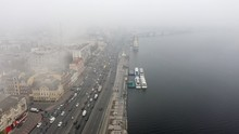 A City Covered In Fog. City Tr...