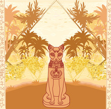 Stylized Egyptian Cat , Abstra...