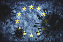 Coronavirus Against European Union Grunge Flag. Virus Causing Epidemic
