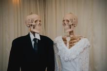 Skeletons In The Bride Groom Wedding Dress Just Married, Concept Halloween Party.