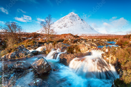 Photo Waterfalls at the foot of the Buachaille Etive Mor