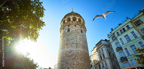 Galata Kulesi Tower and street in the old city of Istanbul, Turkey Fotobehang