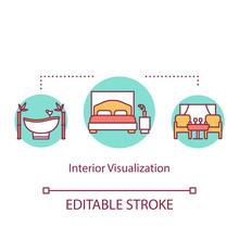 Interior Visualization Concept Icon. Apartment Design Representation Idea Thin Line Illustration. Hotel Room Design Development. Vector Isolated Outline RGB Color Drawing. Editable Stroke
