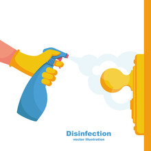 Close-up Disinfection Of Door ...