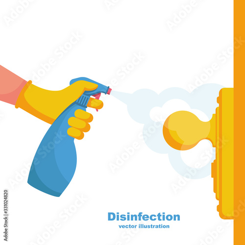 Obraz Close-up disinfection of door handles. Spraying disinfectant alcohol to the handle of a door. Vector illustration flat design. Prevention concept. Controlling the epidemic of coronavirus. - fototapety do salonu