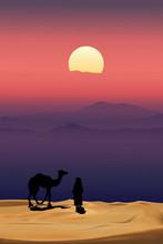 Arab Man With Camel Walking In...