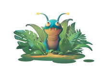 Cute Alien Creature Hiding In Jungle Bushes Isolated On White Background. Cartoon Young Monster With Teeth And Antennas. Blue Kawaii Animal With A Yellow Belly. 3d Illustration Little Funny Traveler