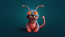 3d Illustration Of A Cute Little Cartoon Red Lava Monster Sitting On Dark Turquoise Background. Concept Art Character Of Smiling Frog Mutant. Alien Creature. Funny Dragon With Big Teeth And Antennas