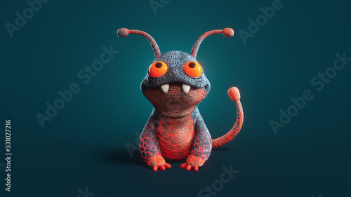 Fotografia 3d illustration of a cute little cartoon red lava monster sitting on dark turquoise background