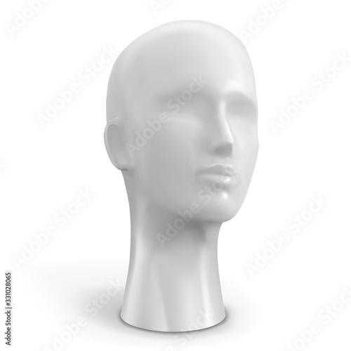Head of female mannequin white color. Vector illustration. Wallpaper Mural