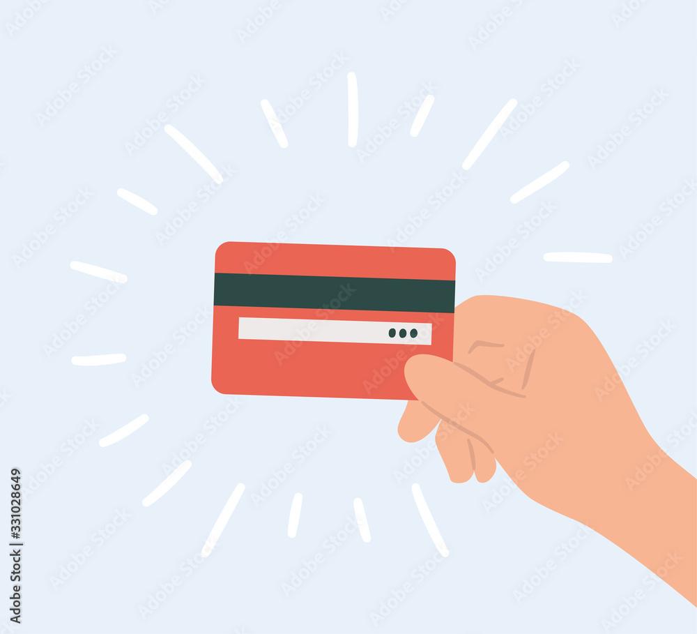 Fototapeta Plastic credit card in hand. Hand drawn vector illustration
