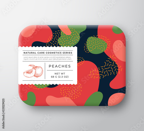 Peaches Bath Cosmetics Package Box. Vector Wrapped Paper Container with Care Label Cover. Packaging Design. Modern Typography and Hand Drawn Peach. Abstract Camo Background Pattern Layout. - 331029420
