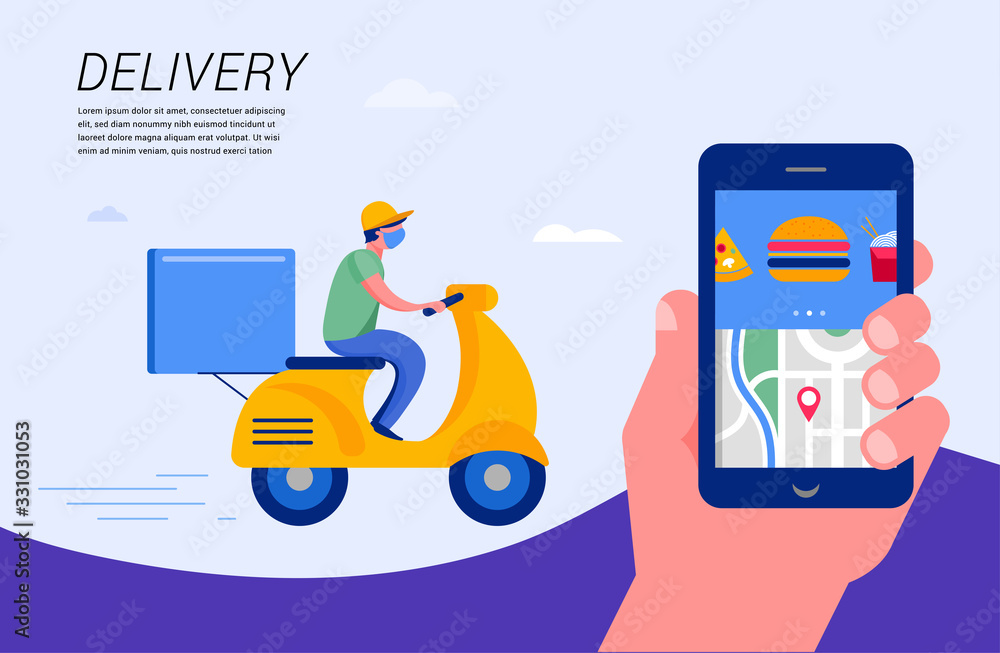 Fototapeta Online delivery service concept, online order tracking, delivery home and office. Warehouse, truck, drone, scooter and bycicle courier, delivery man. Vector illustration