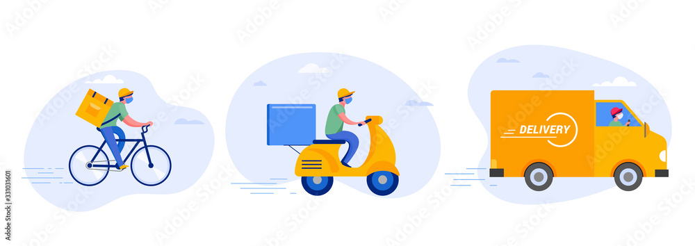 Fototapeta Online delivery service concept, online order tracking, delivery home and office. Warehouse, truck, drone, scooter and bicycle courier, delivery man in respiratory mask. Vector illustration