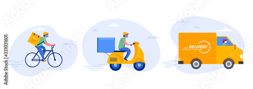 Online delivery service concept, online order tracking, delivery home and office. Warehouse, truck, drone, scooter and bicycle courier, delivery man in respiratory mask. Vector illustration - 331031601