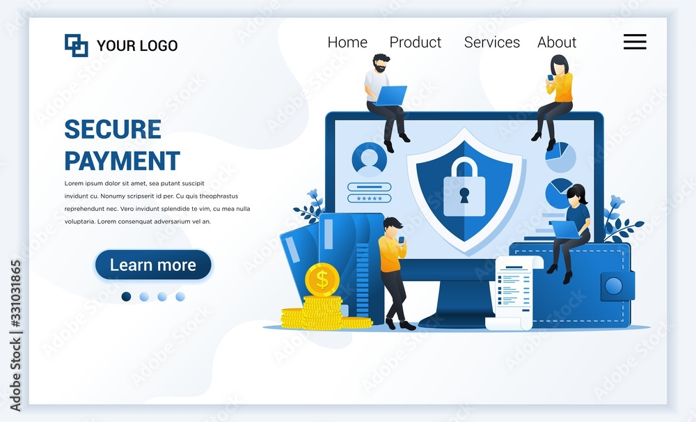 Fototapeta Vector illustration of Secure payment or money transfer concept with characters. Modern flat web landing page template design for website and mobile website. flat cartoon style
