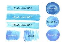 Vector Of Blue Watercolor Brus...