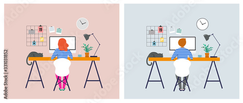 Fototapeta Working at home, coworking space, concept illustration. Young people, man and woman freelancers working on laptops and computers at home. People at home in quarantine. Vector flat style illustration obraz