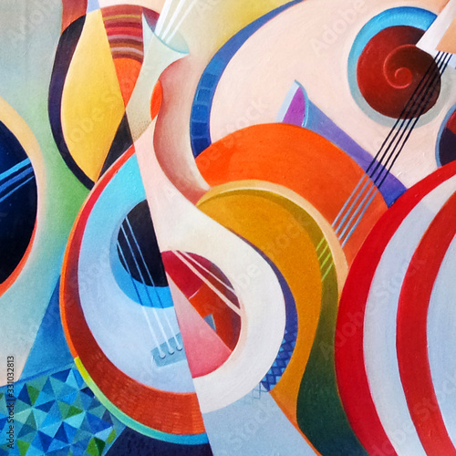Photo Modern abstract painting on a musical theme, hand painted, colourfull