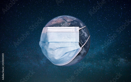 Planet earth wearing a protection medical mask Canvas Print