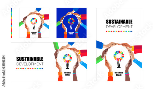 Obraz Sustainable development goals. Hands make light symbol and colorful logo inside. Multicultural people community of responible protection of earth and environment. Social vector illustration  - fototapety do salonu